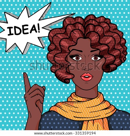 Vintage african american girl with curly hair showing on speech bubble with message IDEA! Vector afro woman pop art comic style illustration.