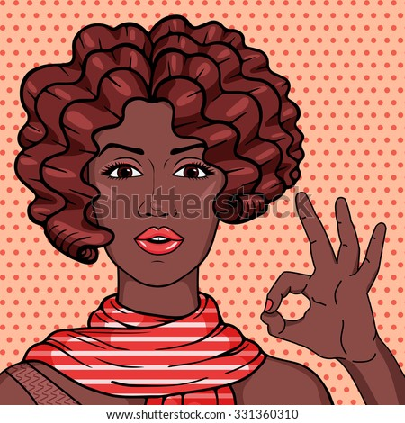 Vintage african american woman showing OK gesture pop art comic style illustration. Vector afro girl with brown curly hair in scarf. - stock vector