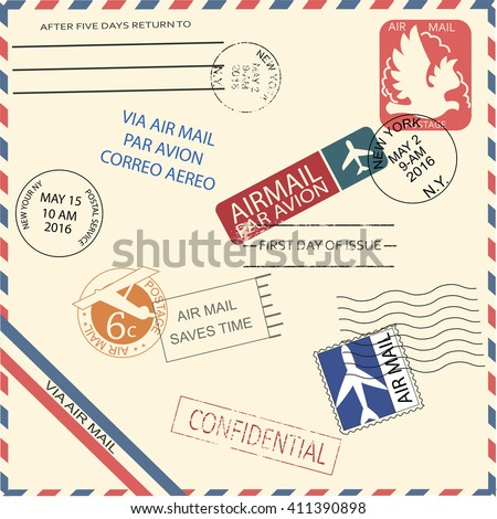 Vintage air mail envelope with stamps, marks and postal elements. Cool vector illustrator. Retro or vintage mail.  - stock vector