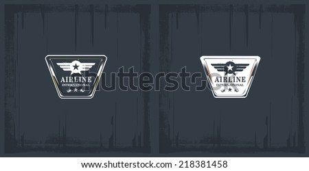 vintage airline glossy shields - stock vector