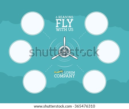 Vintage Airplane and travel infographics with empty forms, bubble for statistics, business diagrams, graph, icons. Propeller emblem. Aviation brochure, flyer. Travel company poster layout template - stock vector