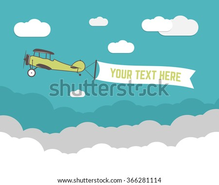 Vintage Airplane banner and travel infographics with empty form, poster for text, slogan, motivation signs. Retro biplane emblem. Aviation brochure, flyer. Travel company flyer layout template. Vector - stock vector
