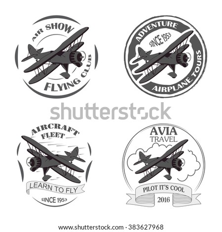 Vintage airplane emblems. Biplane labels. Retro  badges,  design elements. Aviation stamps collection Aerial logo and logotype. Fly stamps isolate, pilot academy symbols Vector Jet elements. - stock vector