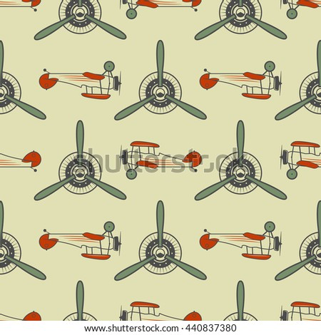 Vintage airplane pattern. With Old Biplanes, propeller elements and symbols. Aircraft seamless background. Retro colors wallpaper. Aviation style. Vector. For web projects, textile print, tee design. - stock vector