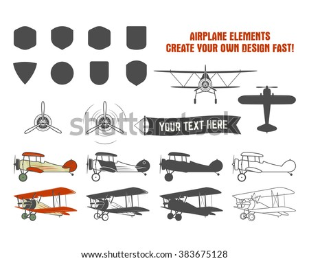 Vintage airplane symbols. Biplane vector graphic labels. Retro Plane badges, design elements. Aviation stamps collection. Fly propeller, old icon, shield isolated on white background. - stock vector