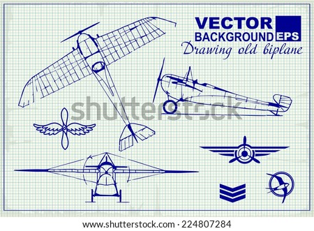 Vintage airplanes drawing on graph paper and design elements , badges and logo patches on the theme aviation - stock vector