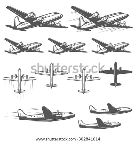 Vintage airplanes from different angles - stock vector