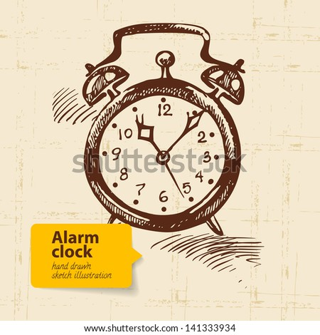 Vintage alarm clock. Hand drawn illustration - stock vector