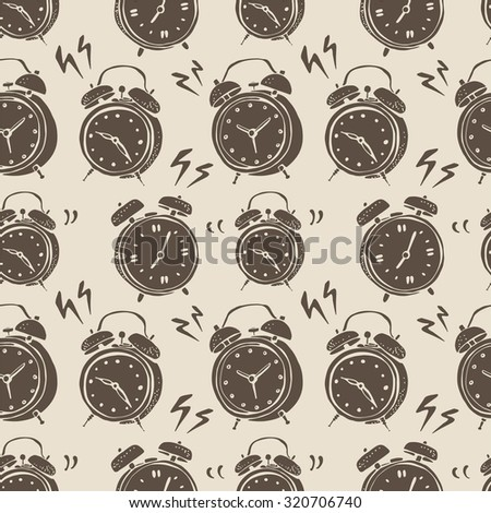 Vintage alarm clocks pattern, retro style background on a beige - stock vector