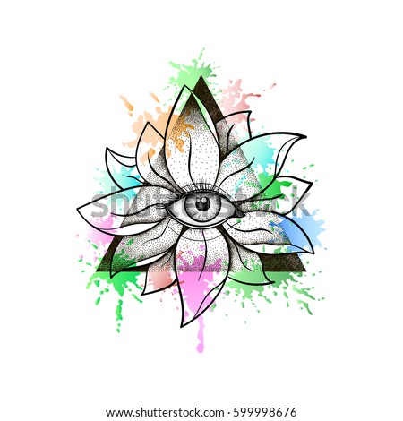 Vintage all seeing eye lotus flower stock vector 599998676 vintage all seeing eye in lotus flower providence magic symbol for print tattoo mightylinksfo