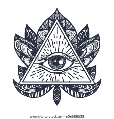 Vintage All Seeing Eye Mandala Lotus Stock Vector 606588533