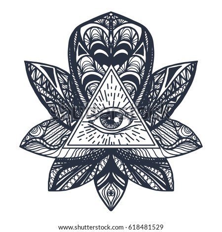 Vintage All Seeing Eye In Mandala Lotus Providence Magic Symbol For Print Tattoo
