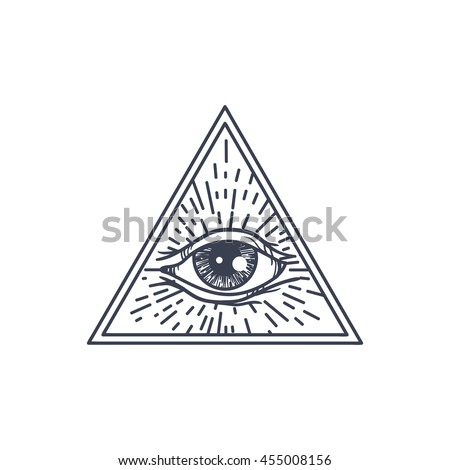 Vintage All Seeing Eye Triangle Providence Stock Vector ...