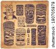 Vintage Aloha Tiki icons set for your business - stock vector
