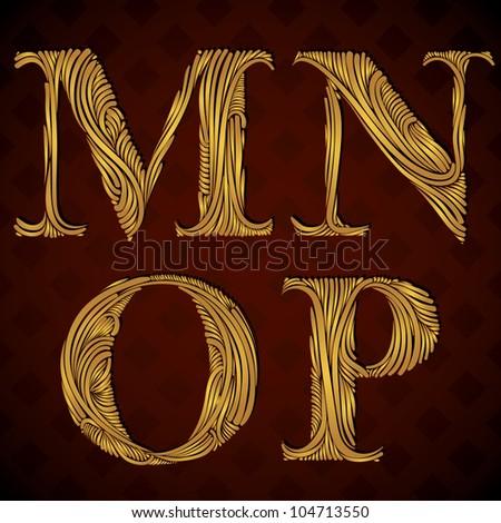 Vintage alphabet, floral letters m n o p. - stock vector