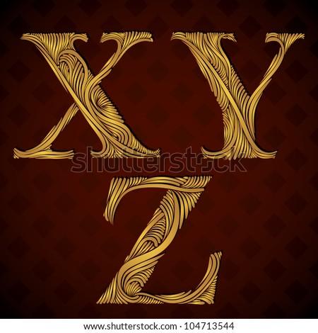 Vintage alphabet, floral letters x y z. - stock vector