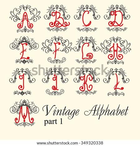 Vintage alphabet. set letters part 1, for Monograms and beautiful filigree font. Art Deco, Nouveau, Modern style. - stock vector