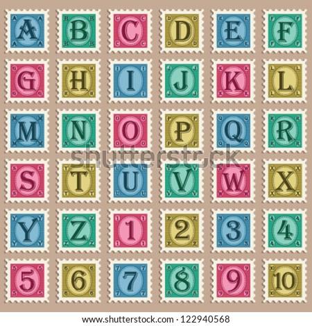 Vintage Alphabet Stamps - stock vector