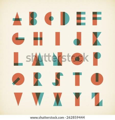 vintage alphabet typography font on textured paper. vector design. - stock vector