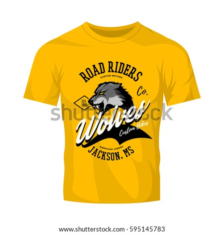 Vintage American furious wolf bikers club tee print vector design isolated on yellow t-shirt mockup. Jackson street wear t-shirt emblem. Premium quality wild animal superior logo concept illustration.