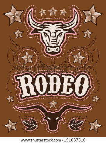 Vintage American Rodeo vector set - elements - card template  - stock vector