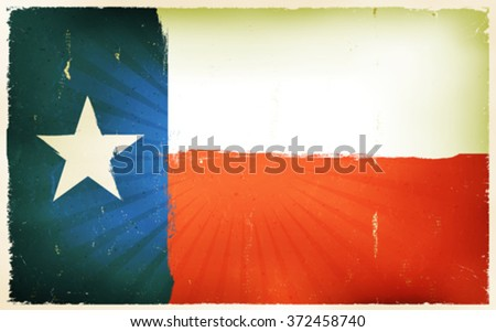 Vintage American Texas Flag Poster Background/ Illustration of a texas american flag poster, blue, white and red, with lone star and retro and vintage design, grunge textures and sunbeams - stock vector
