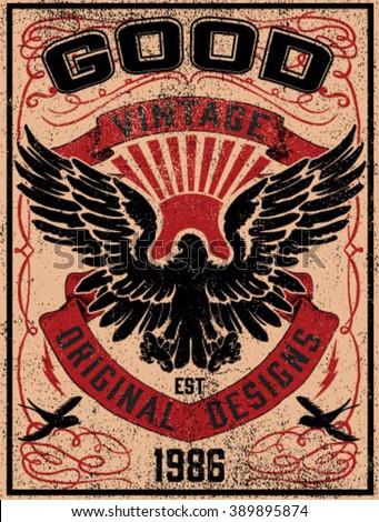 Vintage Americana Eagle Graphic - stock vector