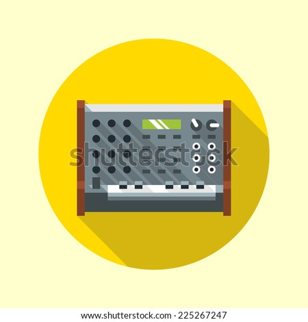 Vintage analog synthesizer icon. Flat design long shadow. Vector illustration.