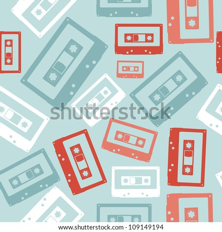 Vintage analogue audio tapes seamless pattern file layered for easy manipulation and custom coloring - stock vector