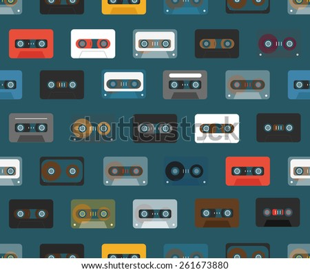 Vintage analogue music recordable cassettes. seamless background - stock vector