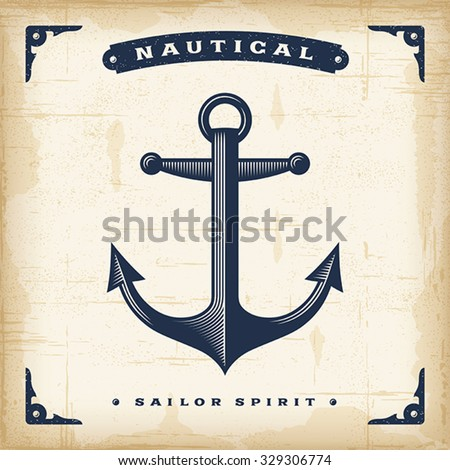 Vintage Anchor. Editable EPS10 vector illustration. Use gradient mesh and transparency. - stock vector