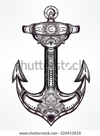 Vintage anchor symbol. Highly detailed hand-drawn ornate element. Alchemy, religion, spirituality, occultism, tattoo art, boho and hipster concept art. Isolated vector illustration. Hope, sea, spirit. - stock vector
