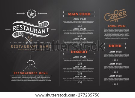 vintage and art restaurant menu design. - stock vector