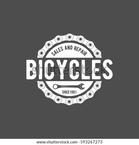 Vintage Modern Bicycle Shop Logo Badge Stock Vector 593267273