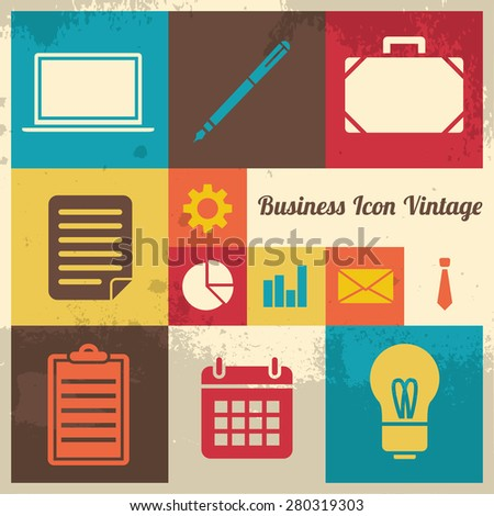 Vintage and Retro business icon collection set