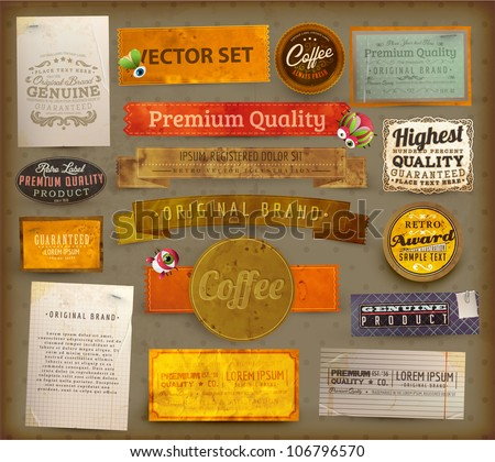 Vintage And Retro Design Elements set. Useful design elements: old papers, labels, ribbons collection | EPS10 vector - stock vector