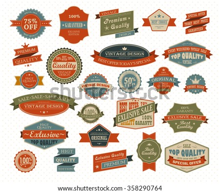 Vintage and retro design elements. Useful design elements - old papers, labels in retro and vintage style - stock vector