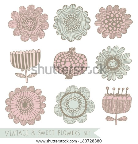Vintage and sweet floral set in vector. 9 cute flowers in retro style - stock vector