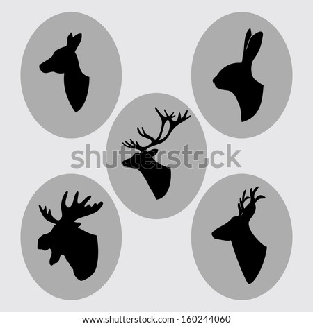 Vintage animals silhouettes, busts - stock vector