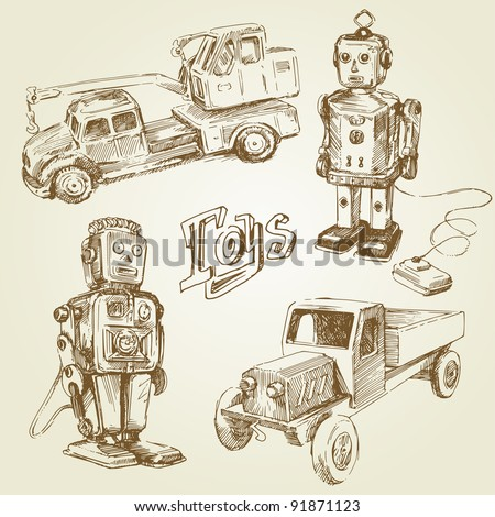 vintage, antique toys - hand drawn collection - stock vector