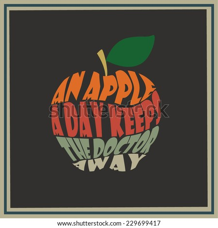 Vintage apple word collage An apple a day keeps the doctor away