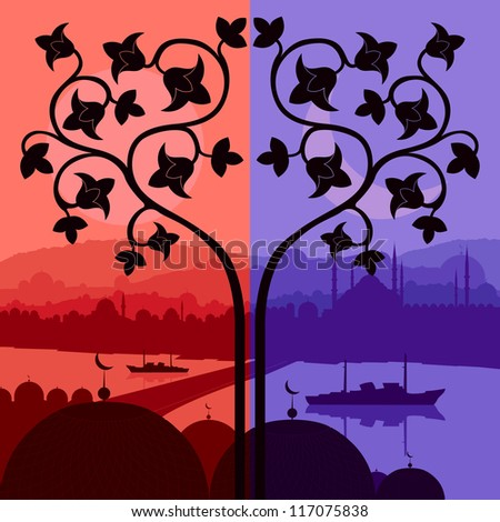 Vintage Arabic city landscape night and day cycle illustration background vector - stock vector
