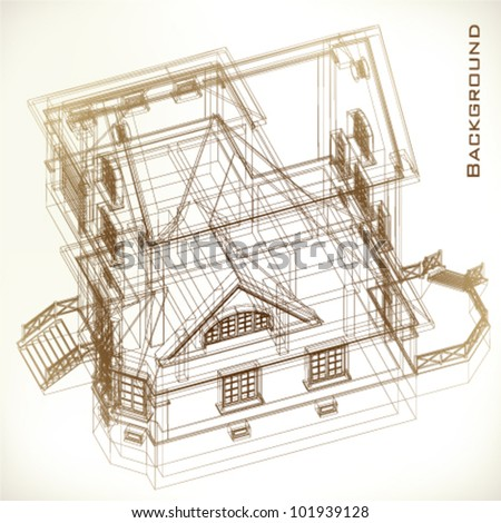 Vintage architectural background. Part of architectural project, architectural plan, technical project, drawing technical letters, architect at work, Architecture planning on paper, construction plan - stock vector
