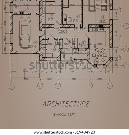 Vintage Architectural Background Vector Blueprint Detailed Stock