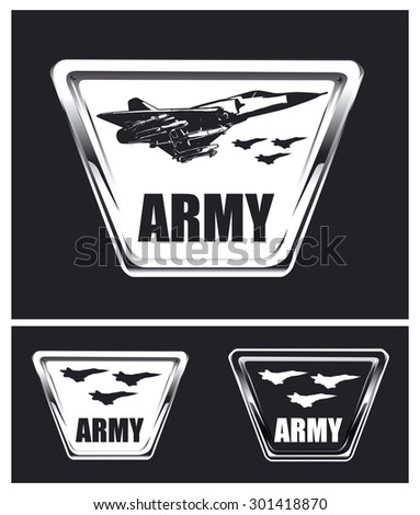 vintage army shields with combat airplane - stock vector