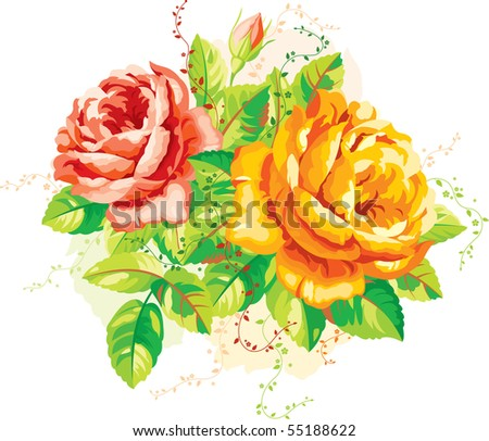 Vintage arrangement of yellow and red roses - stock vector