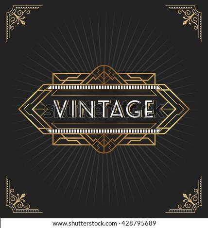 Vintage art deco frame decorative design stock vector 428795689 vintage art deco frame for decorative design invitation bannerctor illustration stopboris Image collections