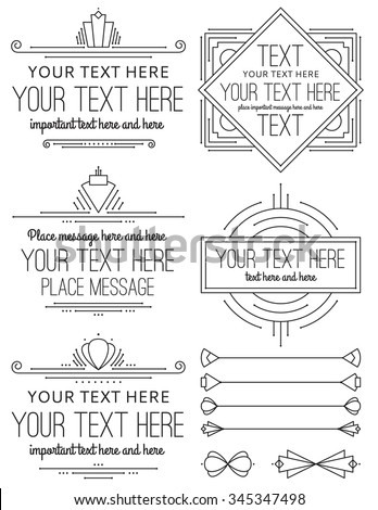 Vintage Art Deco Frames and Elements - stock vector