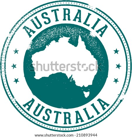 Vintage Australia Country Travel Stamp - stock vector