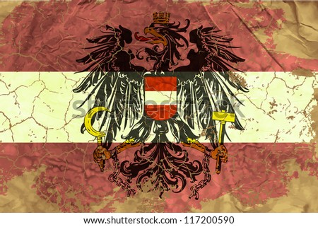 Vintage Austrian flag - stock vector
